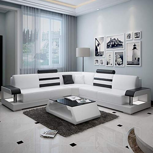 Lillyput Interio Luxury Hardwood Modern L-Shape Leatherette Sofa Set (White and Black)