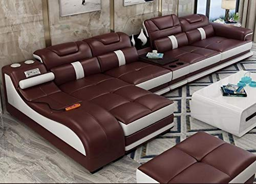 Quality Assure Furniture Leatherette Sectional Sofas Minimalist (Dark Brown)