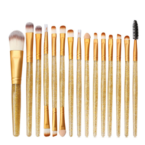 GLITTER MAKEUP Brush Kit - 15Pcs