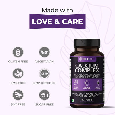 Boldfit Calcium Complex Supplement 1000mg With Alfalfa For Women And Men