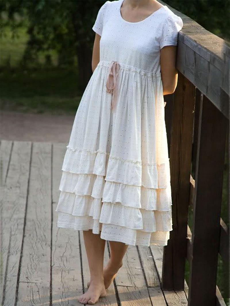 Beige Casual Crew Neck Cotton Dresses