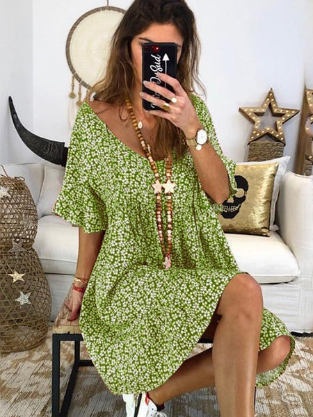 Women Floral Printed Short Sleeve Vintage Dresses