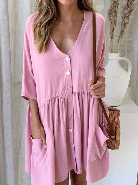 V-Neck Cotton Casual Solid Dresses
