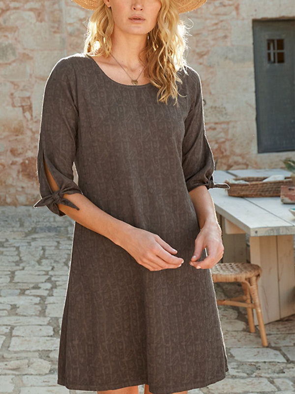 Cotton-Blend Casual Round Neck Solid Dresses