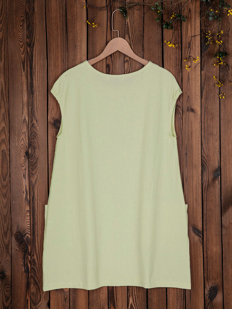Women Sleeveless Shift Linen Pockets Dresses