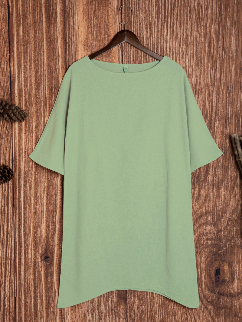 Women Cotton Solid Short Sleeve Casual Dresses