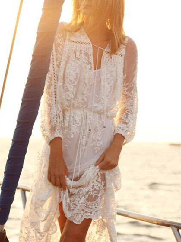 White Swing Women Holiday Boho Long Sleeve  Solid Summer Dress