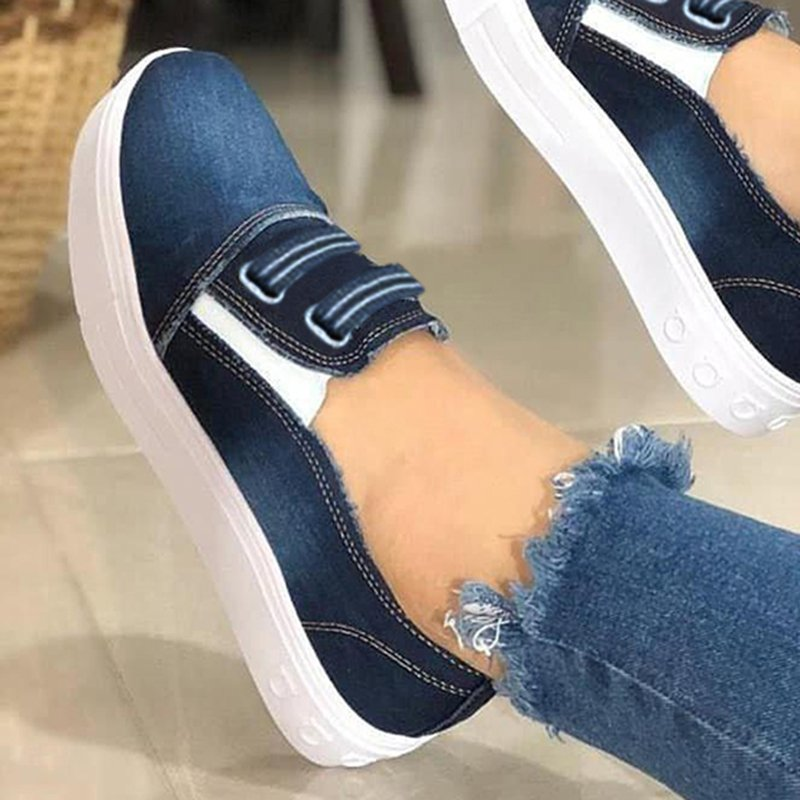 Women Canvas Cloth Elastic Band Sneakers Slip-On Platform Shoes