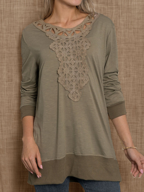 Casual Embroidered Cotton Round Neck Tops