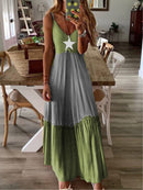 Holiday Color-block Sleeveless Spaghetti Maxi Dress