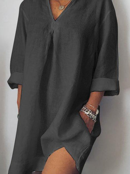 Plus Size Casual Solid V Neck Long Sleeve Pockets Dresses
