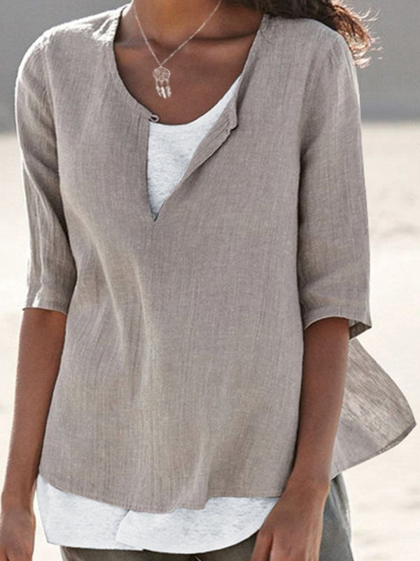 Casual Half Sleeve Solid Shirts & Tops