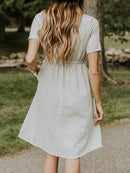 Beige Short Sleeve pocket Striped Dress