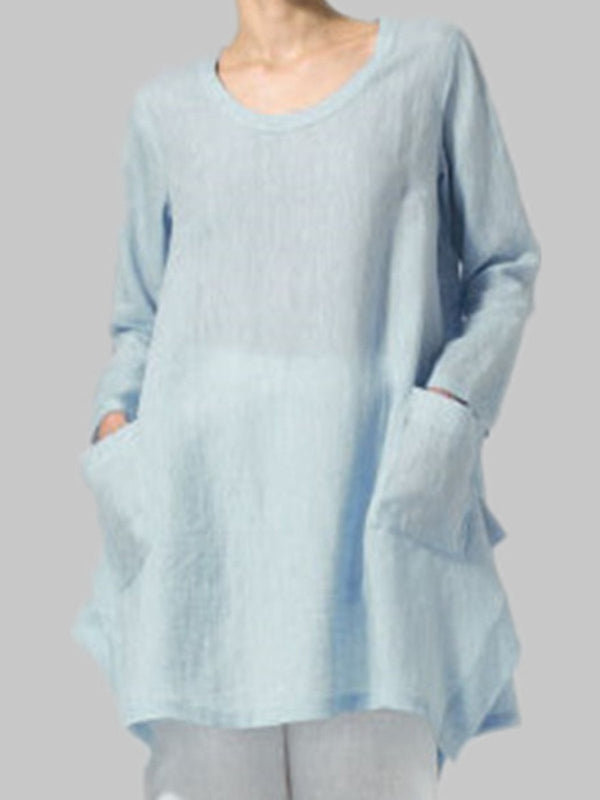 Shift Women Daily Linen Long Sleeve Casual Pockets Solid Fall Dress
