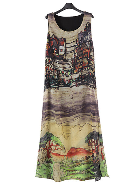 Plus Size Women Multicolor A-line Holiday Sleeveless Dress