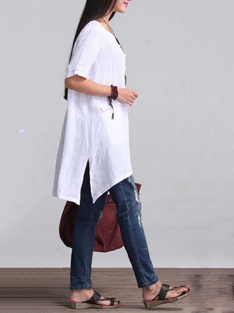 3/4 Sleeve Solid Casual High Low Plus Size Blouse