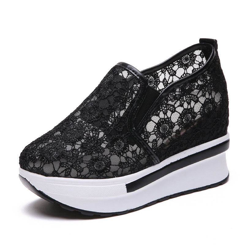 Lace Platform Trainers Slip On Breathable Sneakers