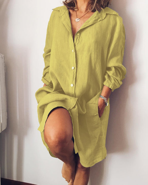 Women Long Sleeve Buttoned Casual Solid Dresses
