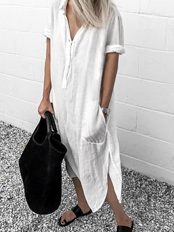 White Women  Shift Date Linen V neck Plain Dresses