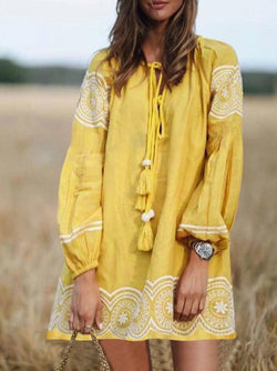 Cotton and linen printed casual dress