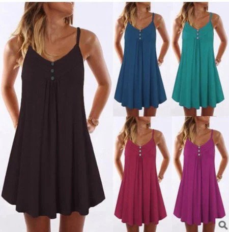 Spaghetti V Neck Mini Dresses Shift Beach Buttoned Dresses