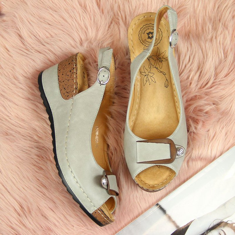 Wedge Heel Peep Toe Buckle Strap Sandals