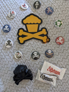 Assorted Buttons, Sticker, Scented Crossbones Figurine