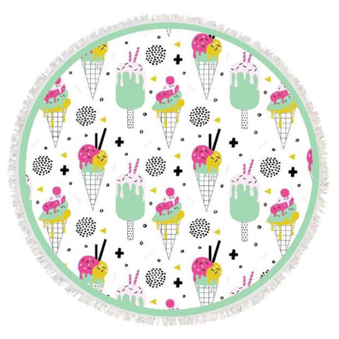 "Ice Cream 60"" Round Towel"