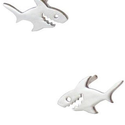 Shark Post Earrings - Gold or Silver
