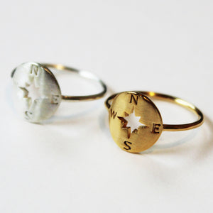 Compass Ring - Silver or Gold