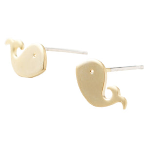 Whale Post Earrings - Silver or Gold