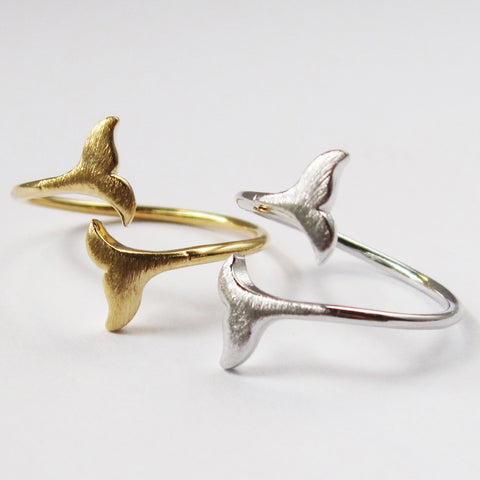 Whale Tail Ring - Gold or Silver