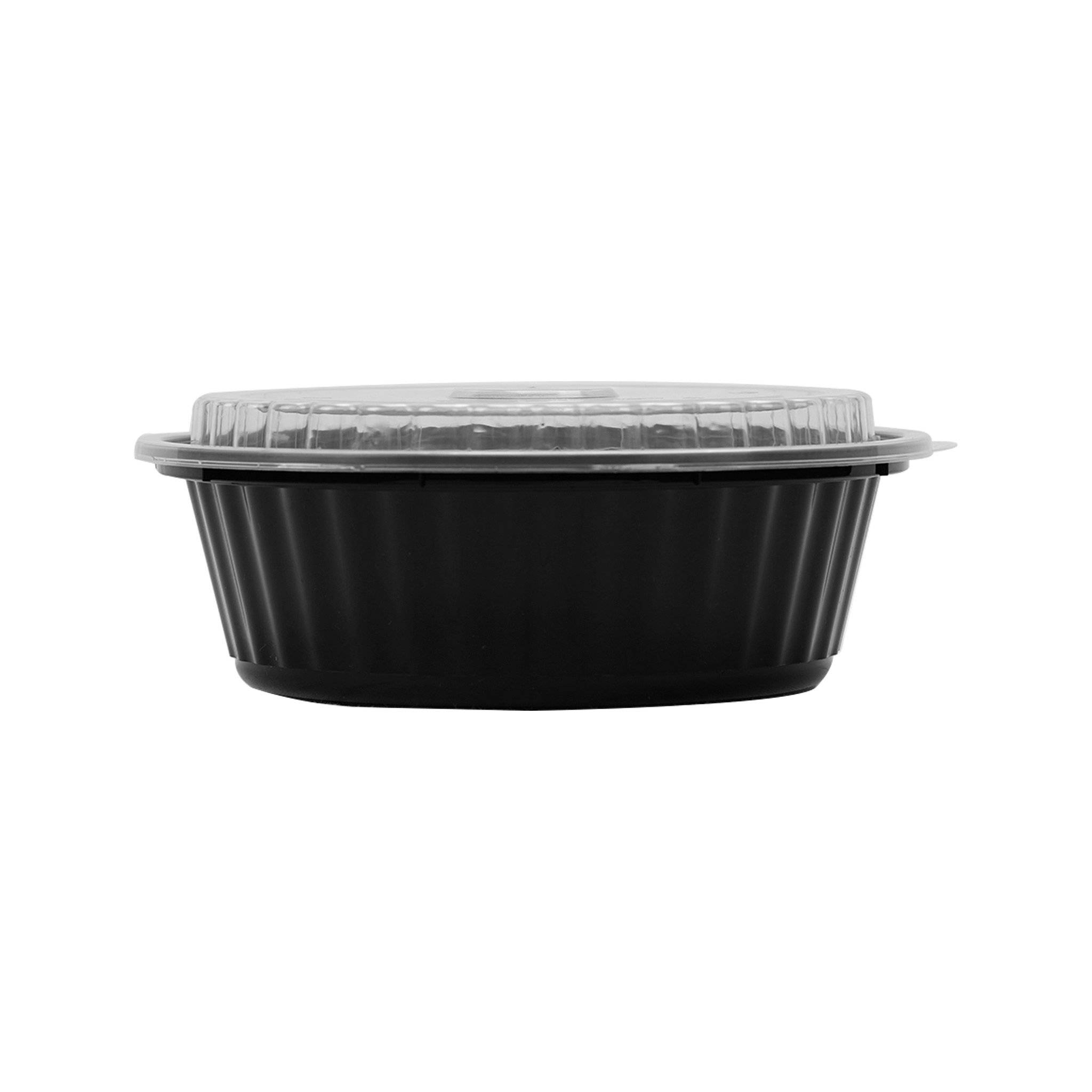 Hotpack | Black Base Round Container 32 oz with Lids | 150 Pieces