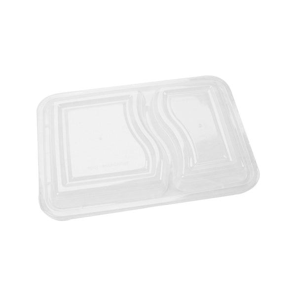 Hotpack | Black Base Rectangular 2-Compartment Container Lids Only | 300 Pieces