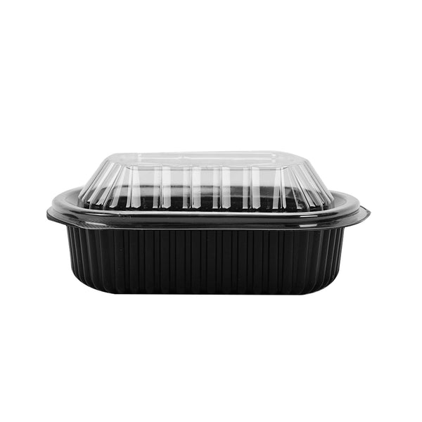 Hotpack | Black Base Rectangular Container 12 oz with Lids | 250 Pieces