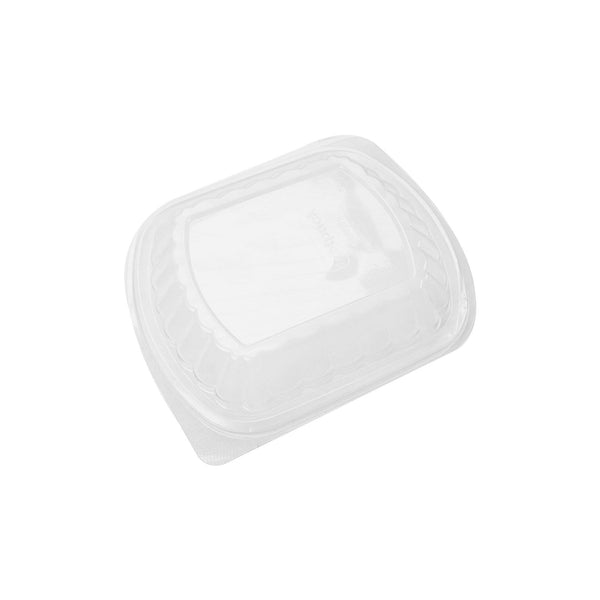 Hotpack | Black Base Rectangular 1-Compartment Container Lids Only | 250 Pieces