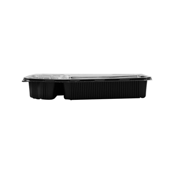 Hotpack | Black Base Rectangular 6-Compartment Container  | 150.Pieces