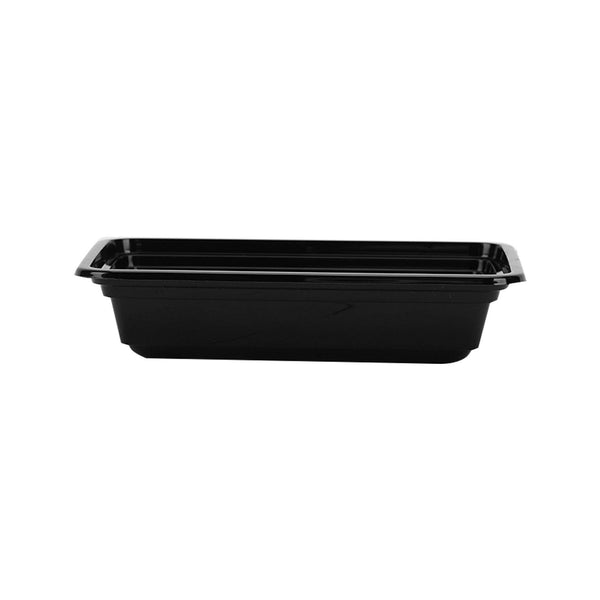 Hotpack | Black Base Rectangular Container 8 oz (250 ml) with Lids | 150 Pieces