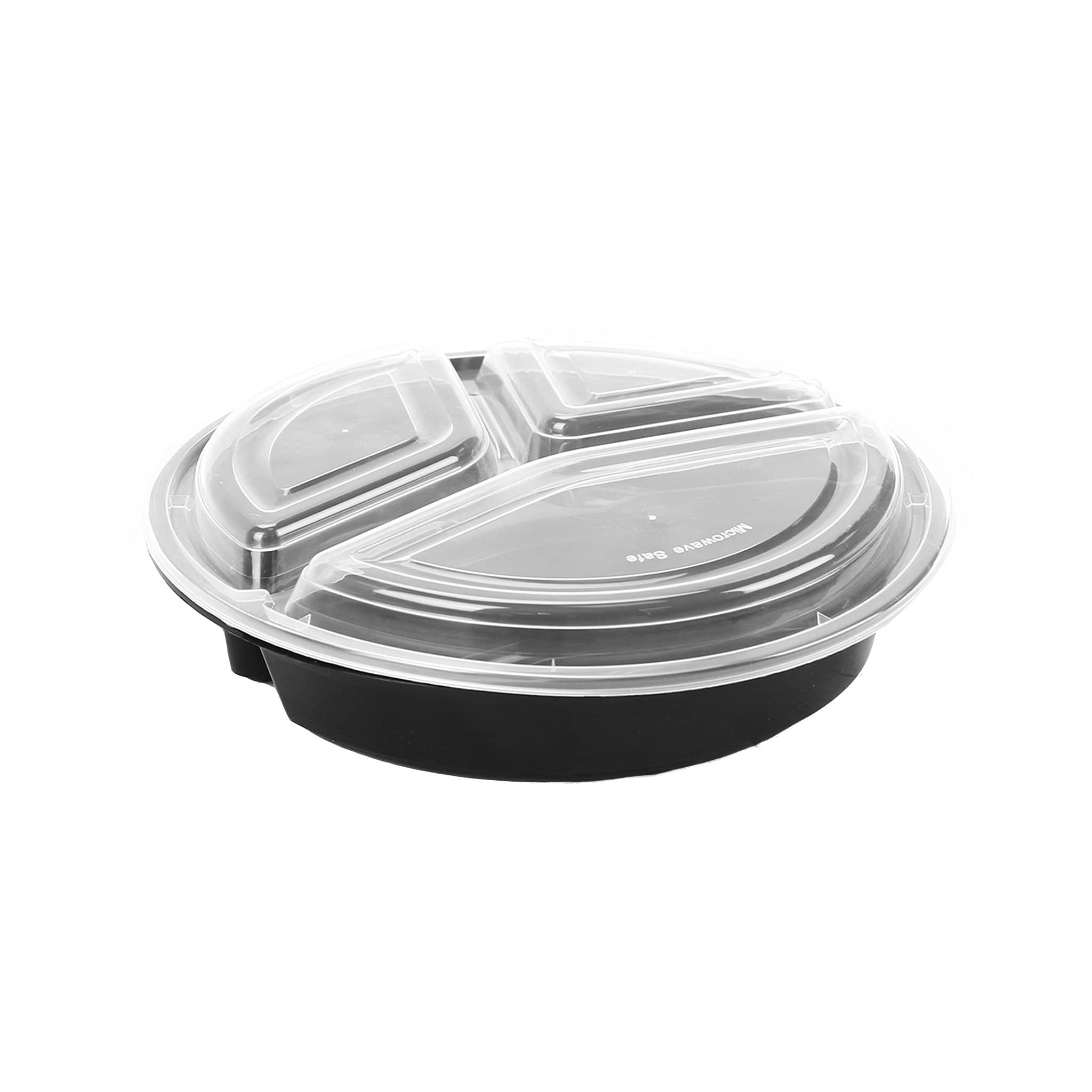 Hotpack | Black Base Round 3-Compartment Container 48 oz with Lids  |150 Pieces