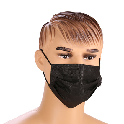 3 Ply Black Face Mask with Ear Loop | 50 Pieces X 1 Packet