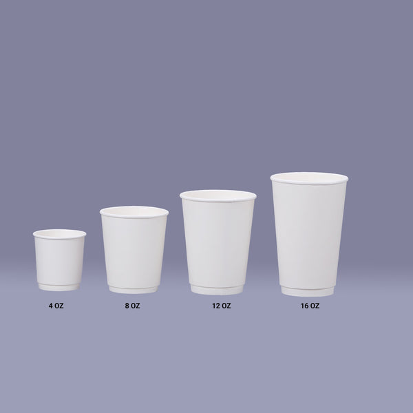 Hotpack | 8 Oz White Double Wall Paper Cup | 500 Pieces