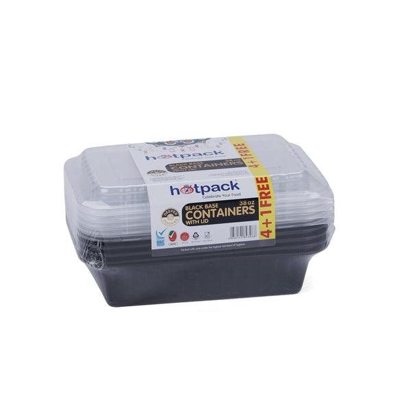 Hotpack | Black Base Rectangular Container 38 oz with Lids | 5 Pieces