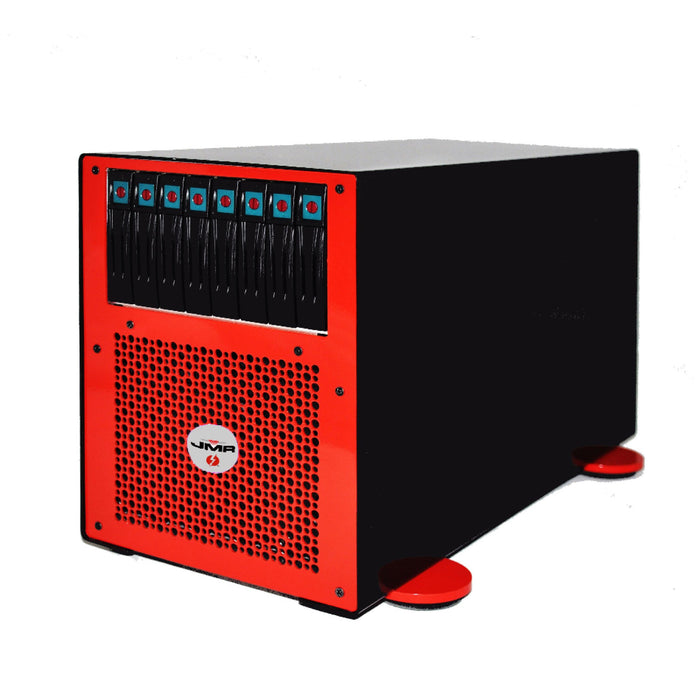 "JMR ""Lightening"" LTNG-XQ-8 (Desktop Version) with four PCIe 3.0 x16 Slots and four Thunderbolt 2 ports and 8 hot-swap SAS/SATA drive bays - Red"