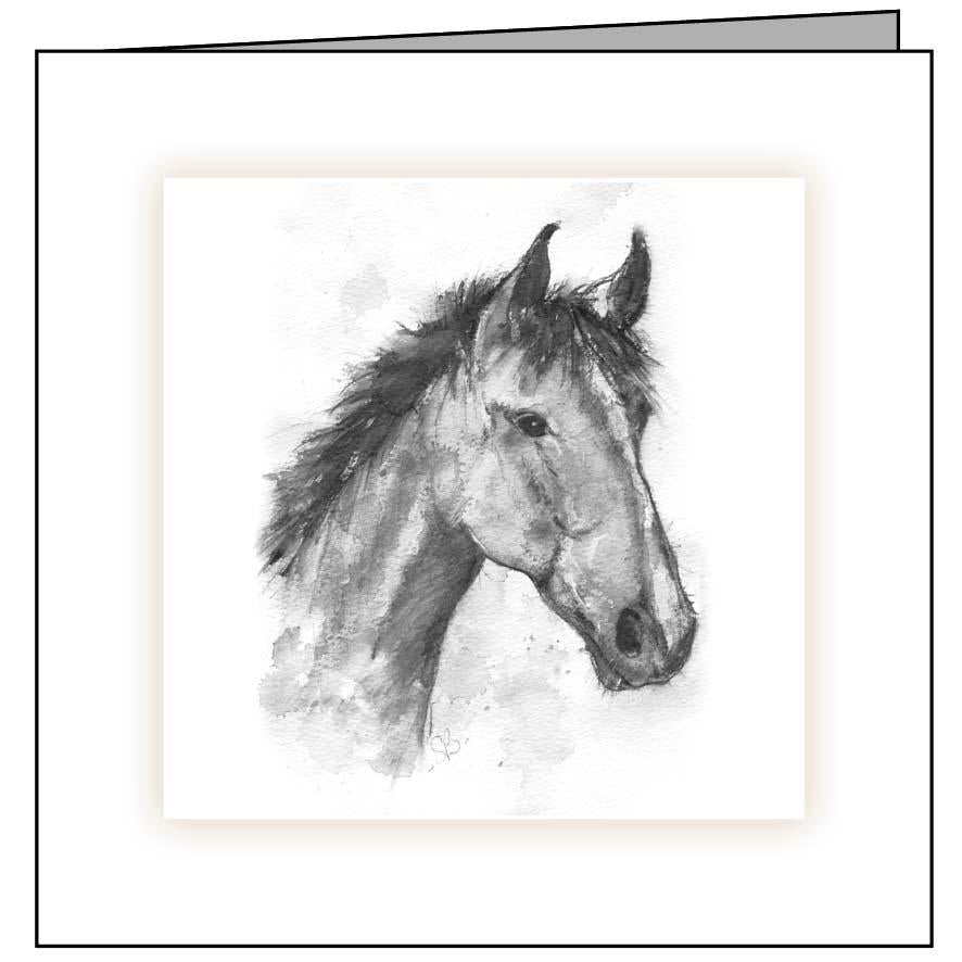Large Animal Hospital Sympathy Card - Horse Head