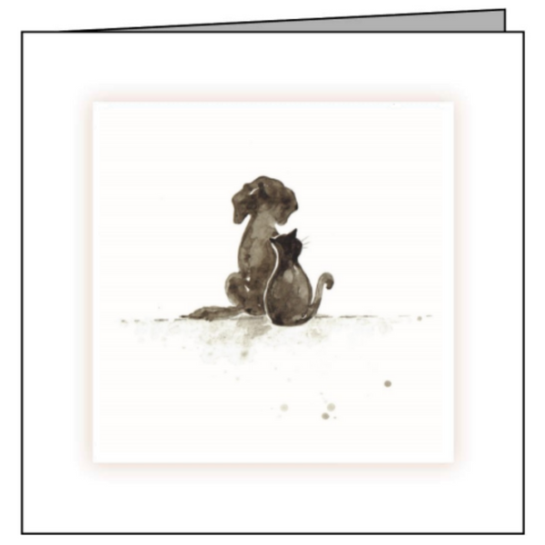 Animal Hospital Sympathy Card - Dog & Cat Silhouette