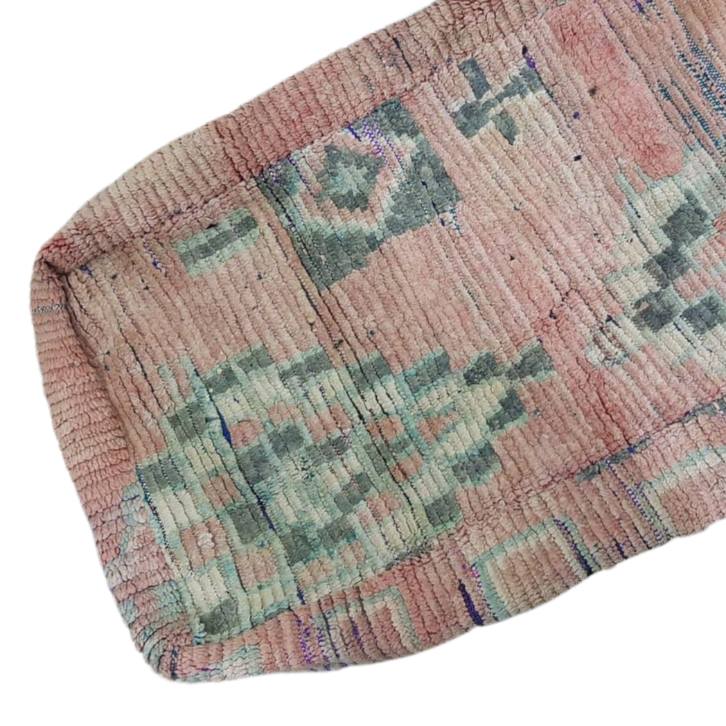 Moroccan Rug Cushion - Dusty Pink and Green (Large)