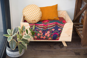 Vintage Boho Style Dog Cushion and Plywood Dog Bed by Design my Digs - Decor for Dogs online Australia