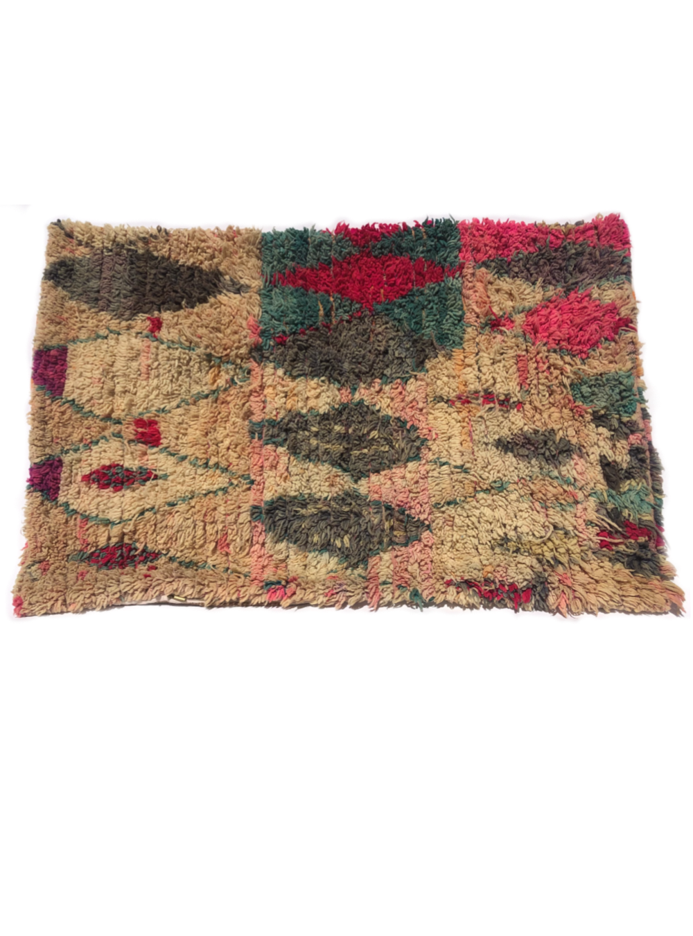 Moroccan Rug Pet Pillow - Cream with coloured diamonds (Large)