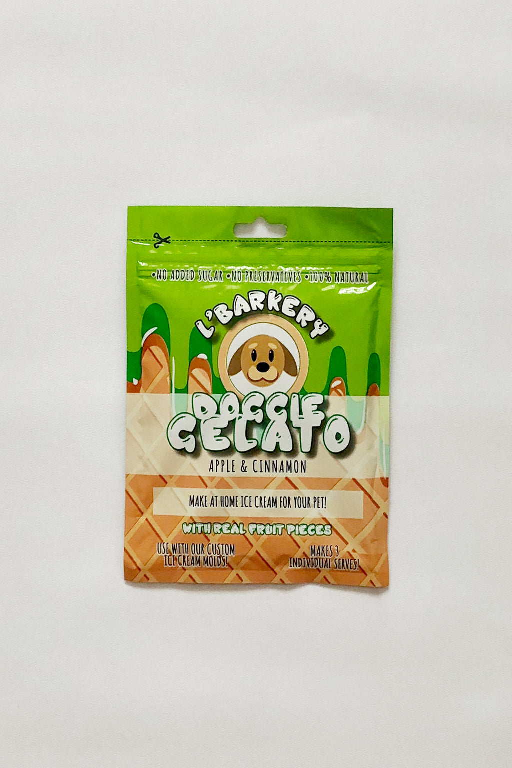 Gelato for dogs - Apple & Cinnamon Doggie Gelato by L'Barkery. Shop online make at home gelato for dogs and cats.