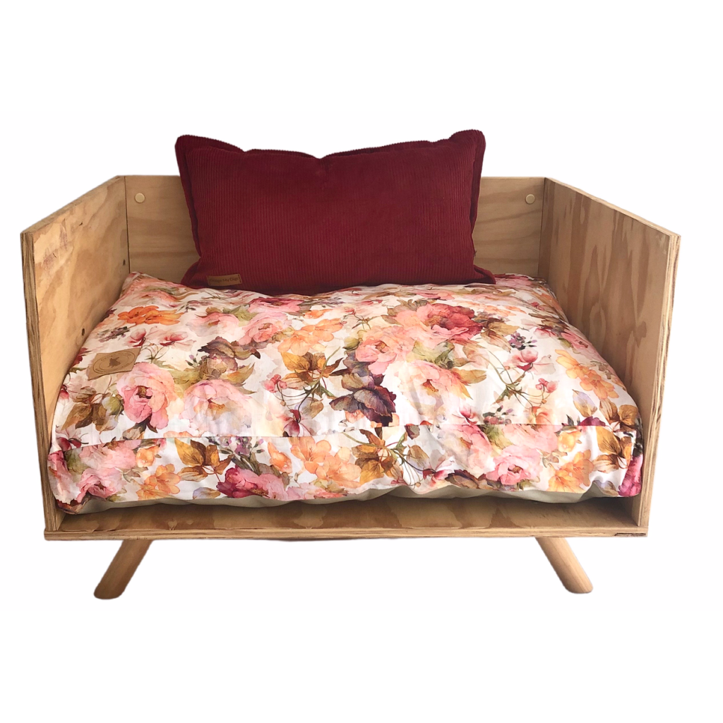 'Field of Flowers' Pink Floral Pet Cushion